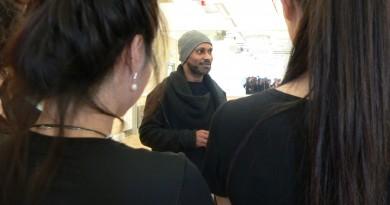 Akram Khan talking to group